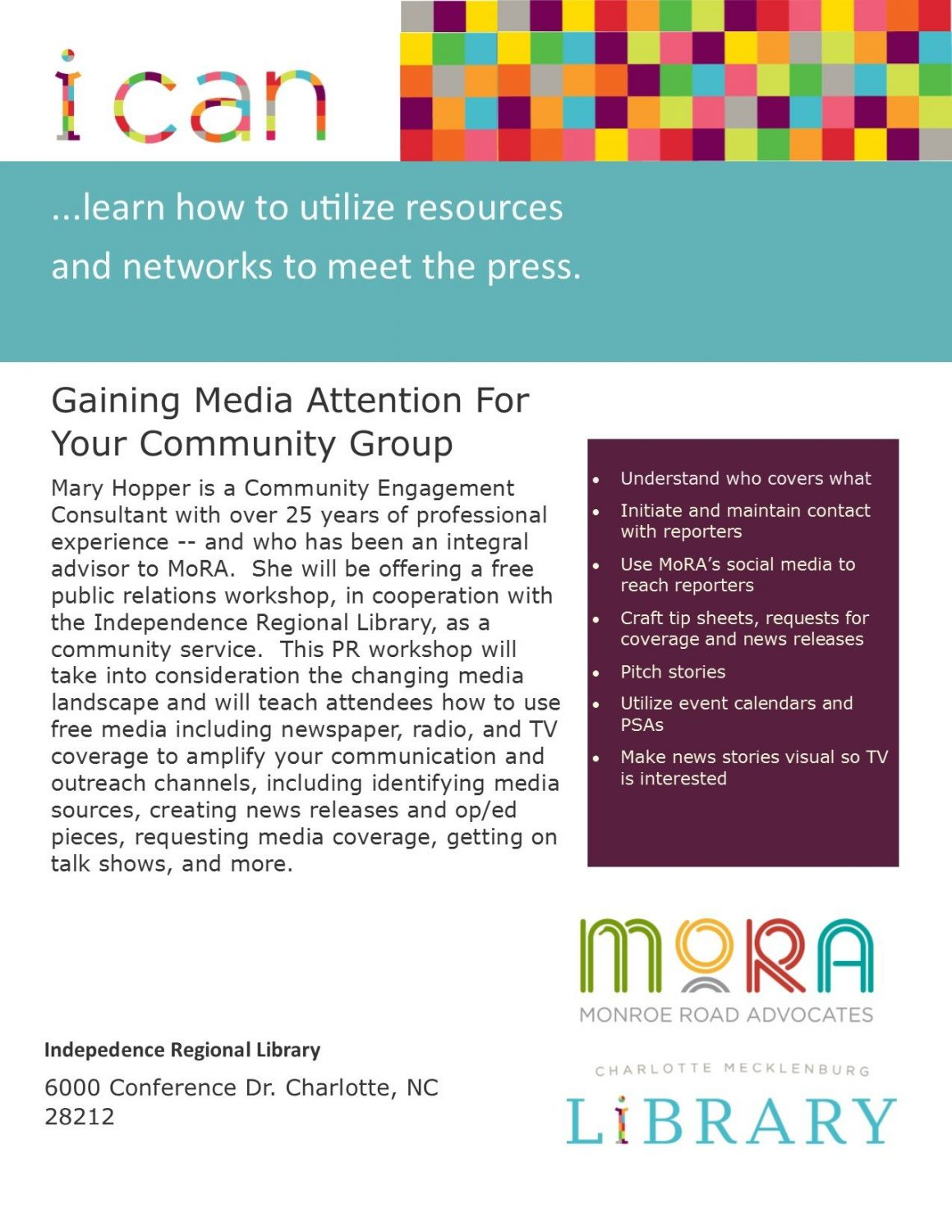 PR workshop for your community group